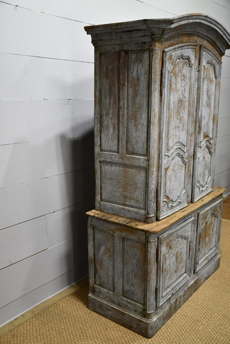 """Early 19th C. French Painted 2 Piece Cupboard 84 3/4""""H, - 2"""