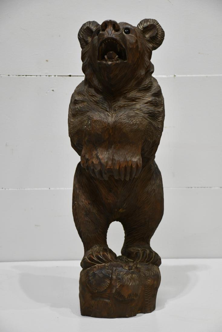 "Folk Art Black Forest Carved Bear 24 1/4""H,   8""  x   8"