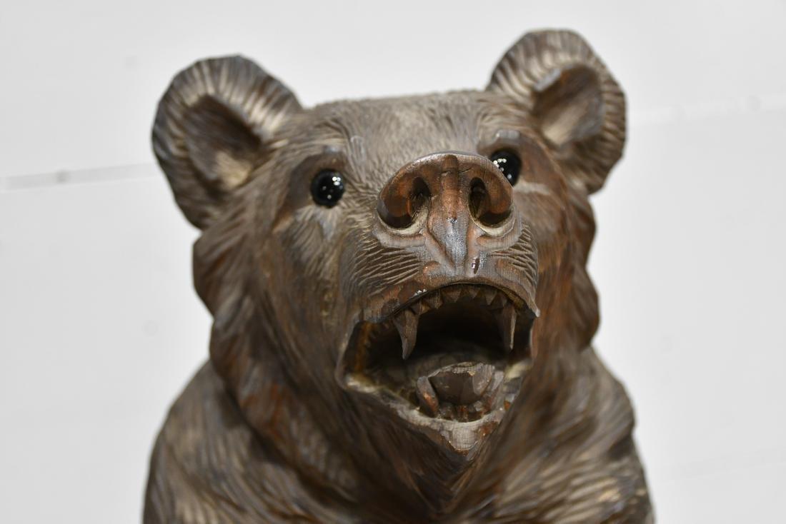 "Folk Art Black Forest Carved Bear 24 1/4""H,   8""  x   8 - 2"