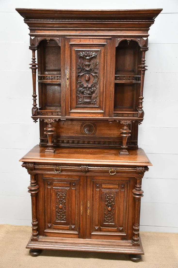 "English 2pc. Carved Hunt Cupboard 90""H,   47""  x   22"""