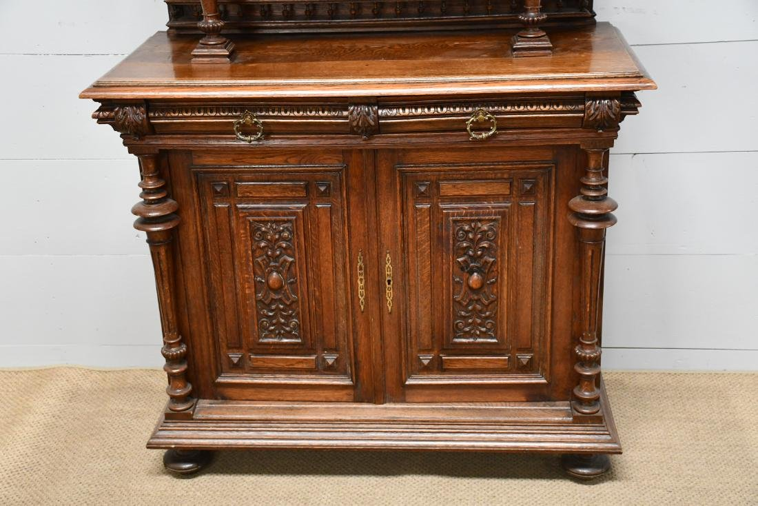 "English 2pc. Carved Hunt Cupboard 90""H,   47""  x   22"" - 2"