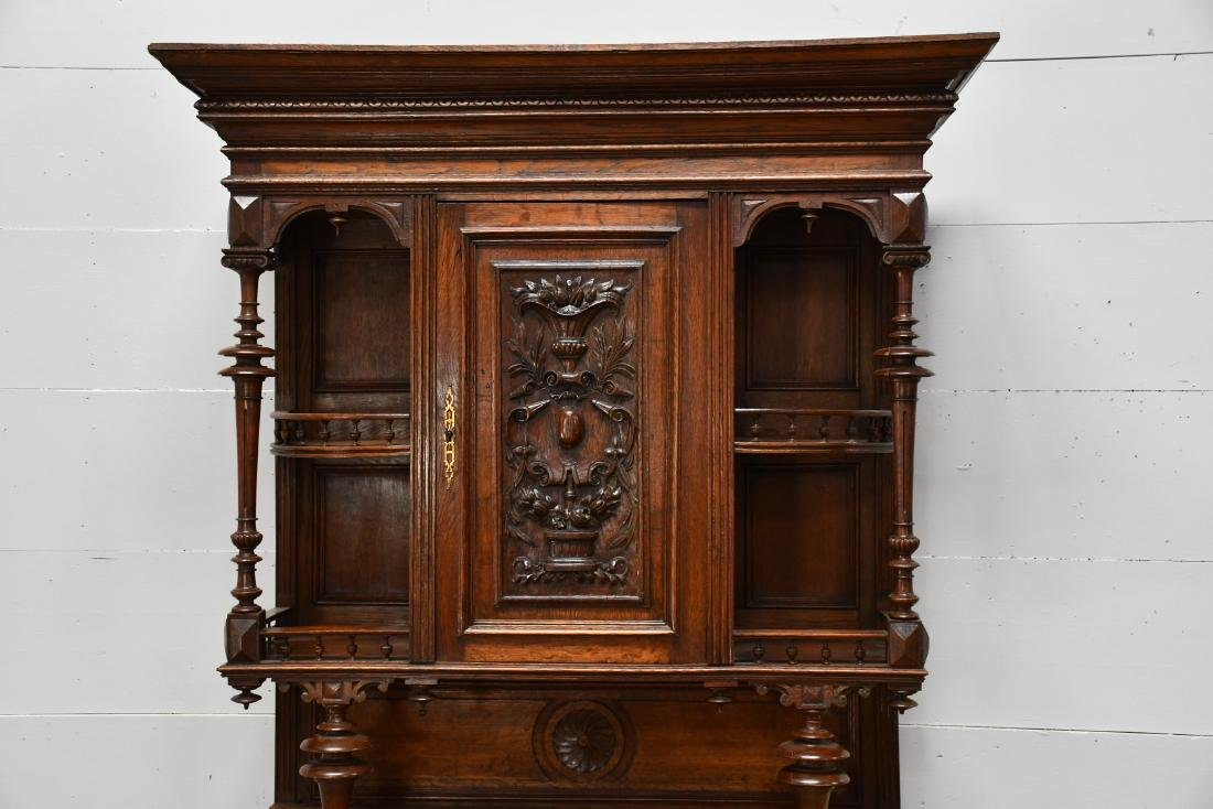 "English 2pc. Carved Hunt Cupboard 90""H,   47""  x   22"" - 3"