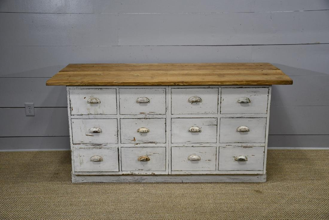 "Painted 12 Drawer Apothecary 34""H,   71""  x   29"""