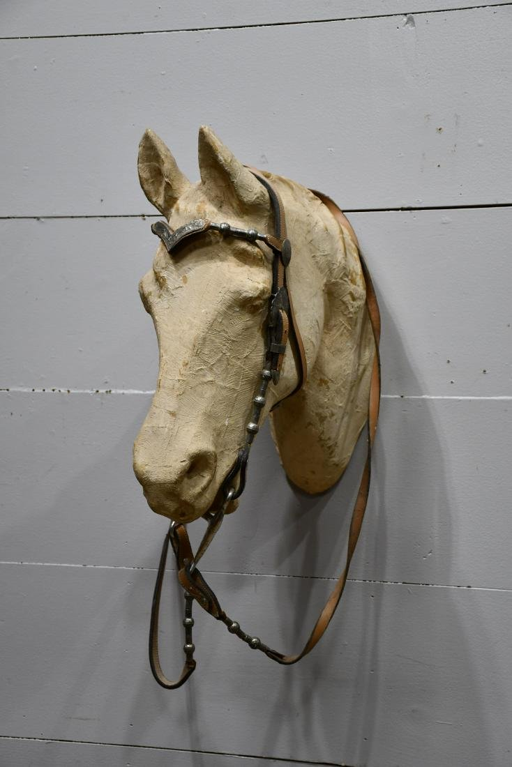 """Paper Mache' Horse Head Display from Saddle Shop 21""""H,"""