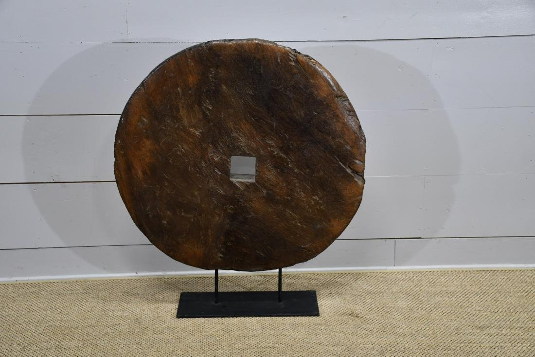 Early Wooden Wagon Wheel On Stand 43 X 38