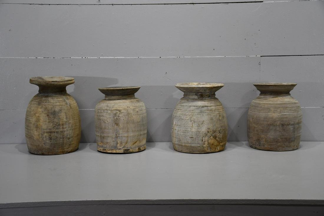 """4pc. Lot of Turned Wood Pots 15""""H   /   14""""H   /   14""""H"""