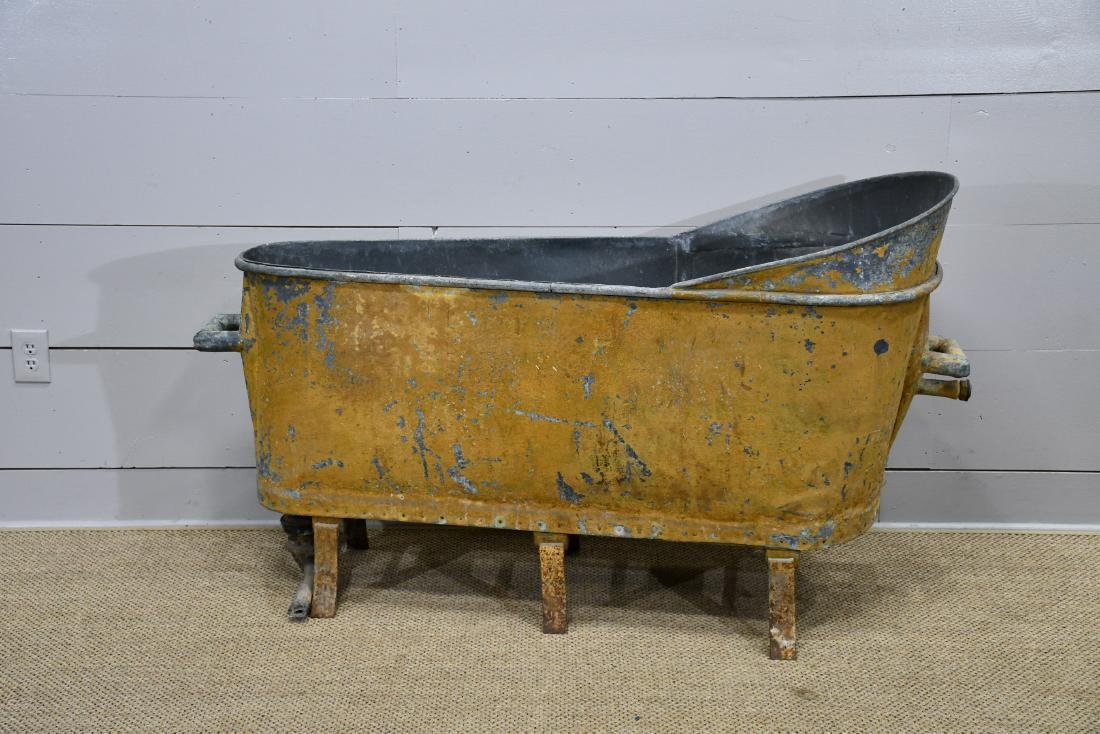 """French Painted Zinc Tub 36""""H,   64""""  x   24"""""""