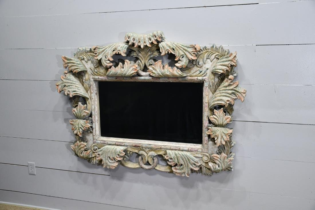 """French Carved Painted Mirror 46""""  x   63""""  x   7"""""""