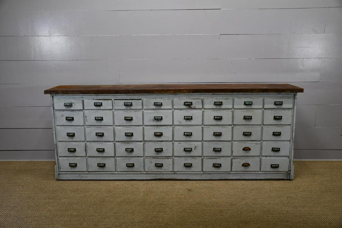 """Painted Apothecary Unit w/ Metal Top 41""""H,   106""""  x"""