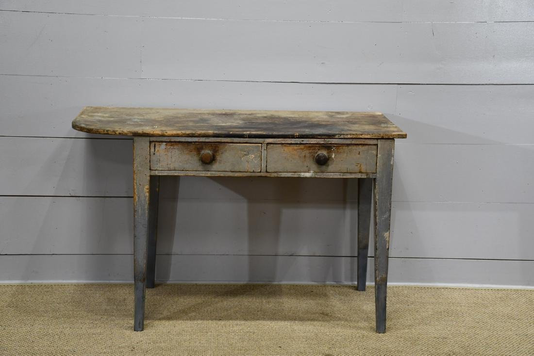 """Early New England Painted 2 Drawer Table 35""""H,   55""""  x"""