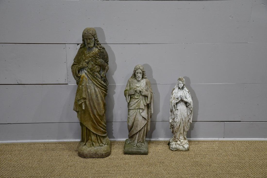 "3pc. Lot of Concrete Religious Garden Statues 21""H    /"