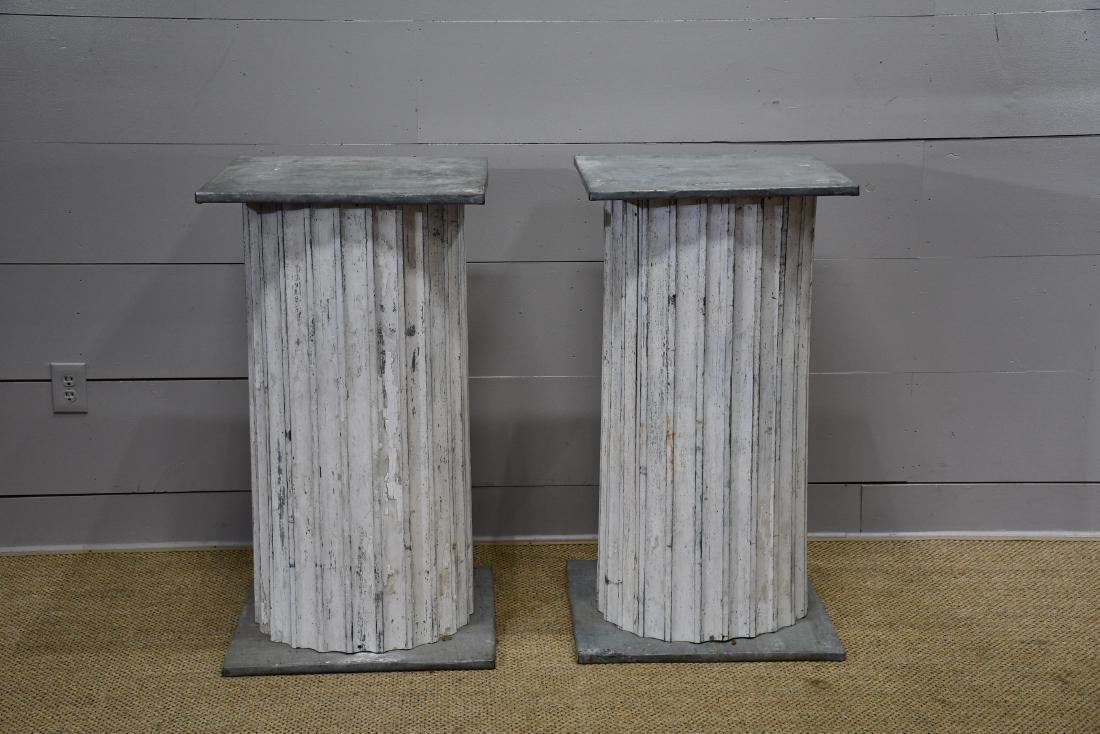 Painted Fluted Zinc Pedestal