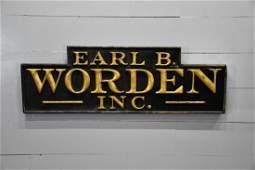 Earl B Worden Inc Sign        wood 22  x   65