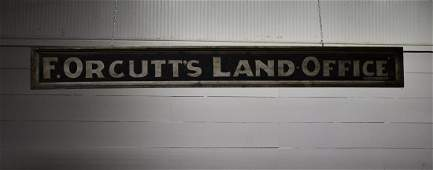F Orcutts Land  Office Sign wood  double