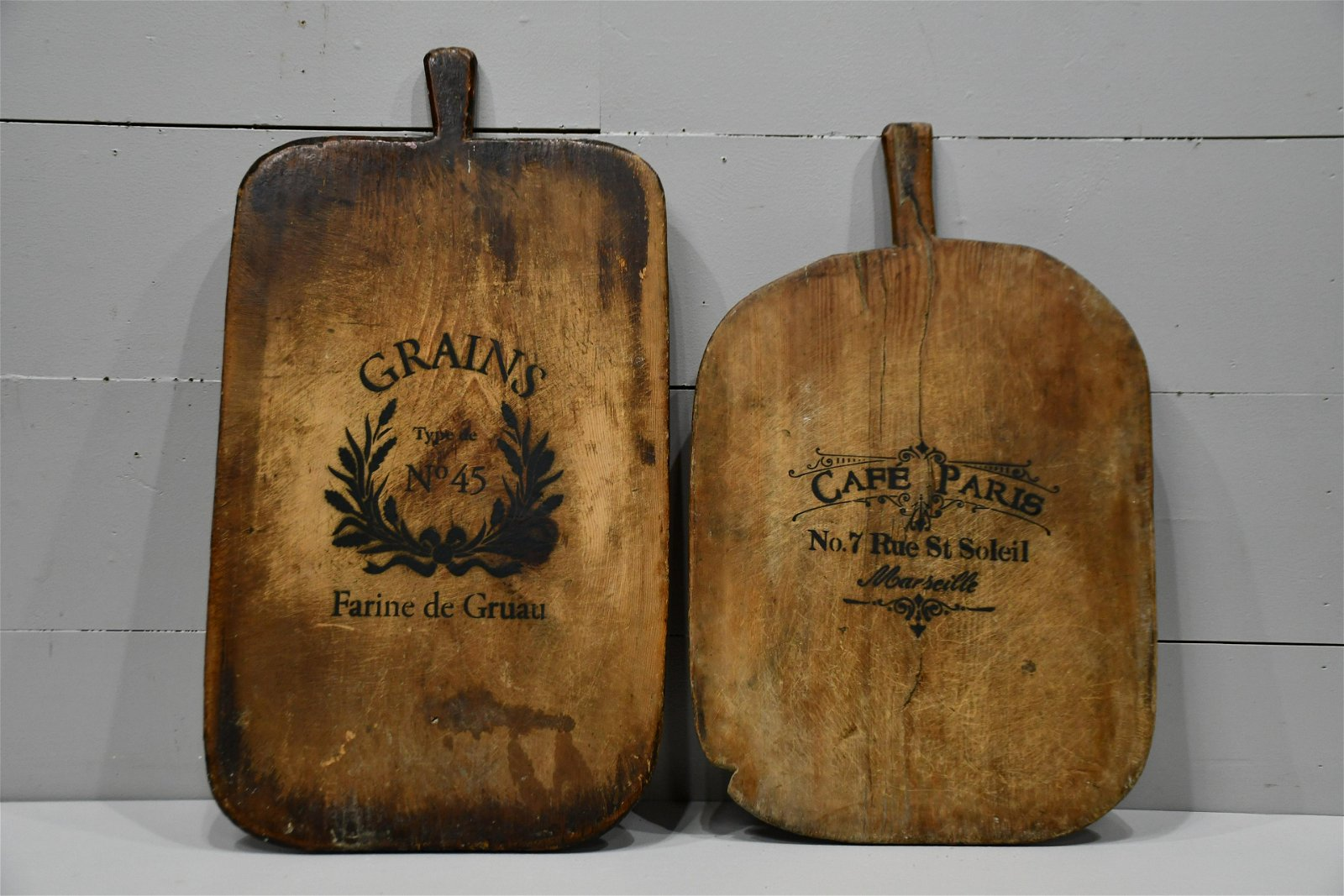"""2pc. Lot of Early Stenciled Cutting Boards 30""""  x   20"""""""