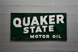 "Quaker State Motor Oil Sign - metal 34"" x 70"""