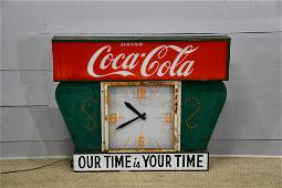 "Coca - Cola Clock ""Our Time is Your Time"" 40""H,   50"""