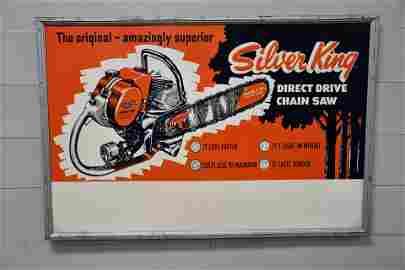"Silver King Chain Saw Sign    -    metal 48""  x   72"""