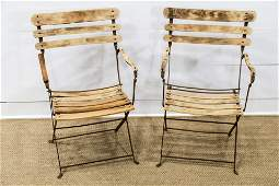 Pair of French Folding Iron and Wood Garden Chairs