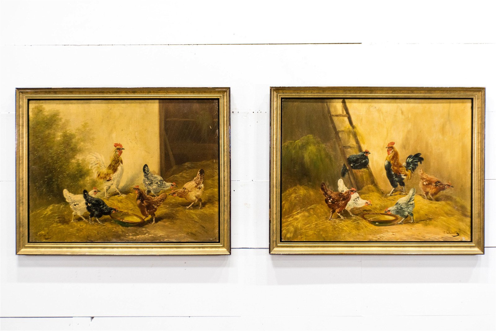 """2pc. Lot of 19th C. O/C Chicken Paintings 27 1/2""""  x"""
