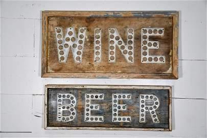 "2pc. Sign Lot - Beer / Wine   -  metal / wood 13""  x"