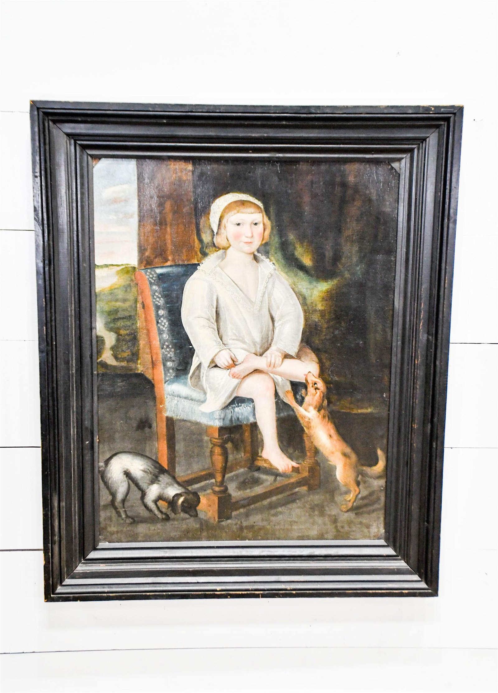 """19th C. O/C Painting - Child w/ Dogs 51""""  x   41 1/2"""""""