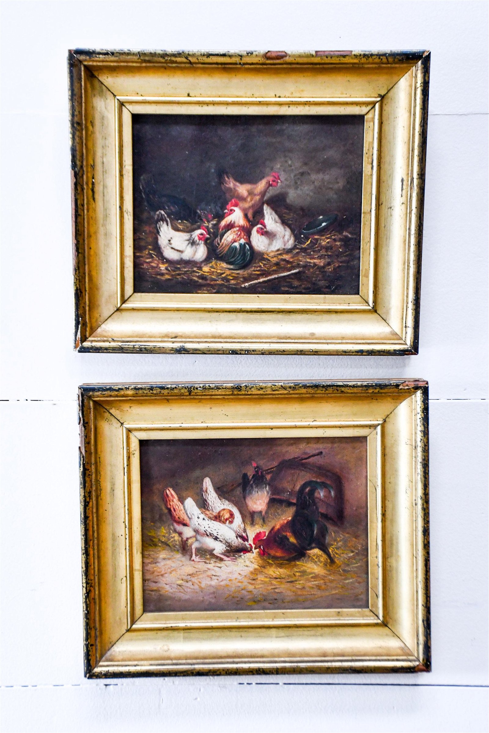 2pc. Lot of 19th C. French Paintings - Chickens oil on
