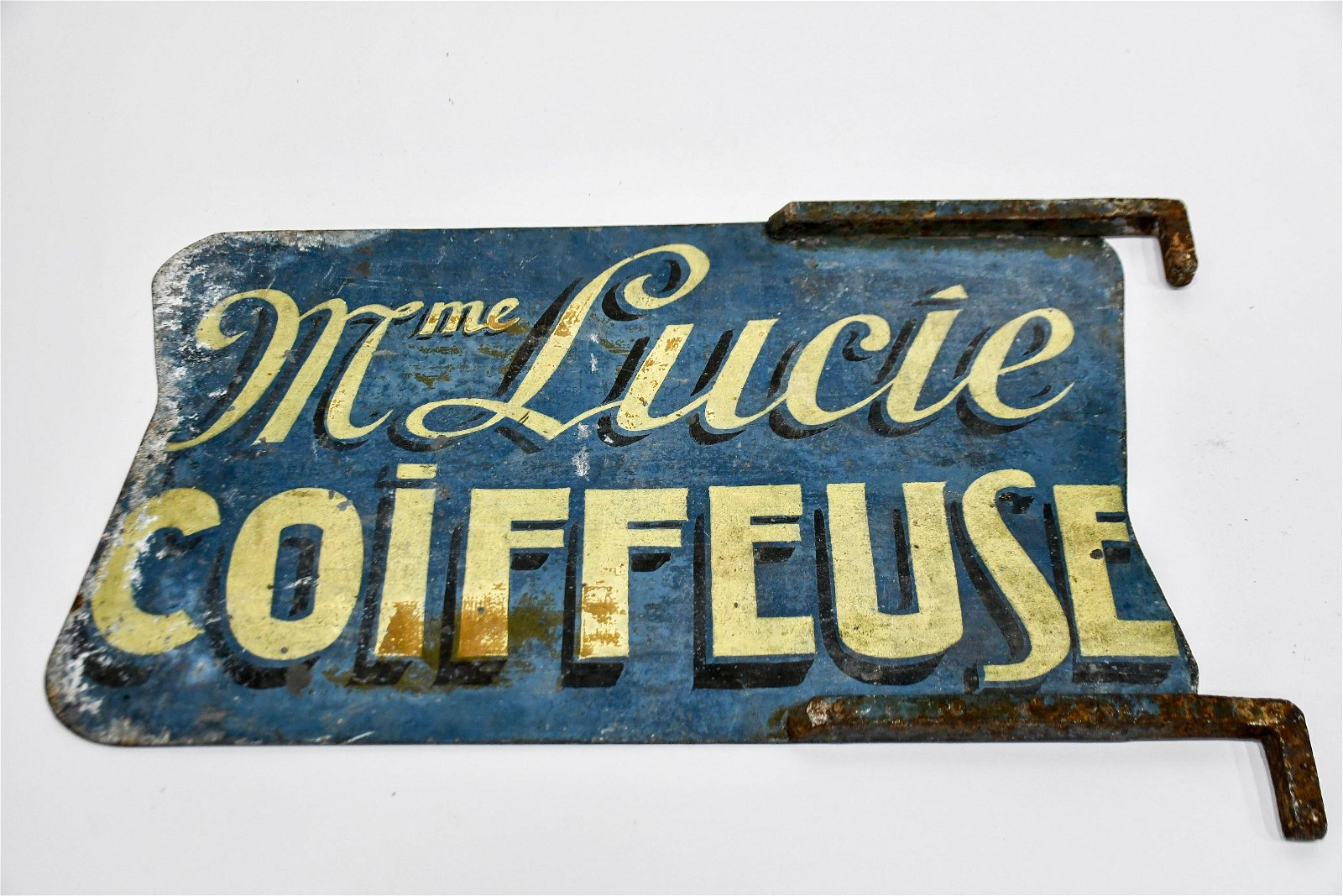 """French Trade Sign  -  metal / double sided 13 1/2""""  x"""