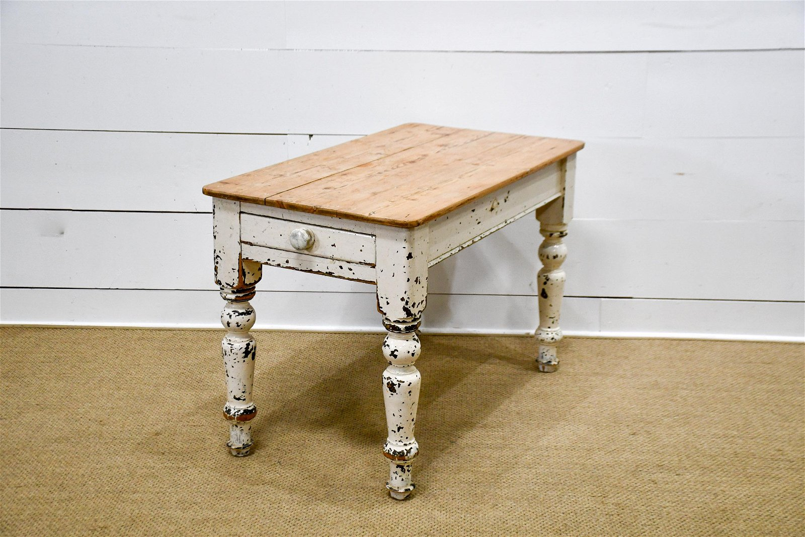 "Painted One Drawer Farm Table 30 1/2""H,   45 1/2""  x"