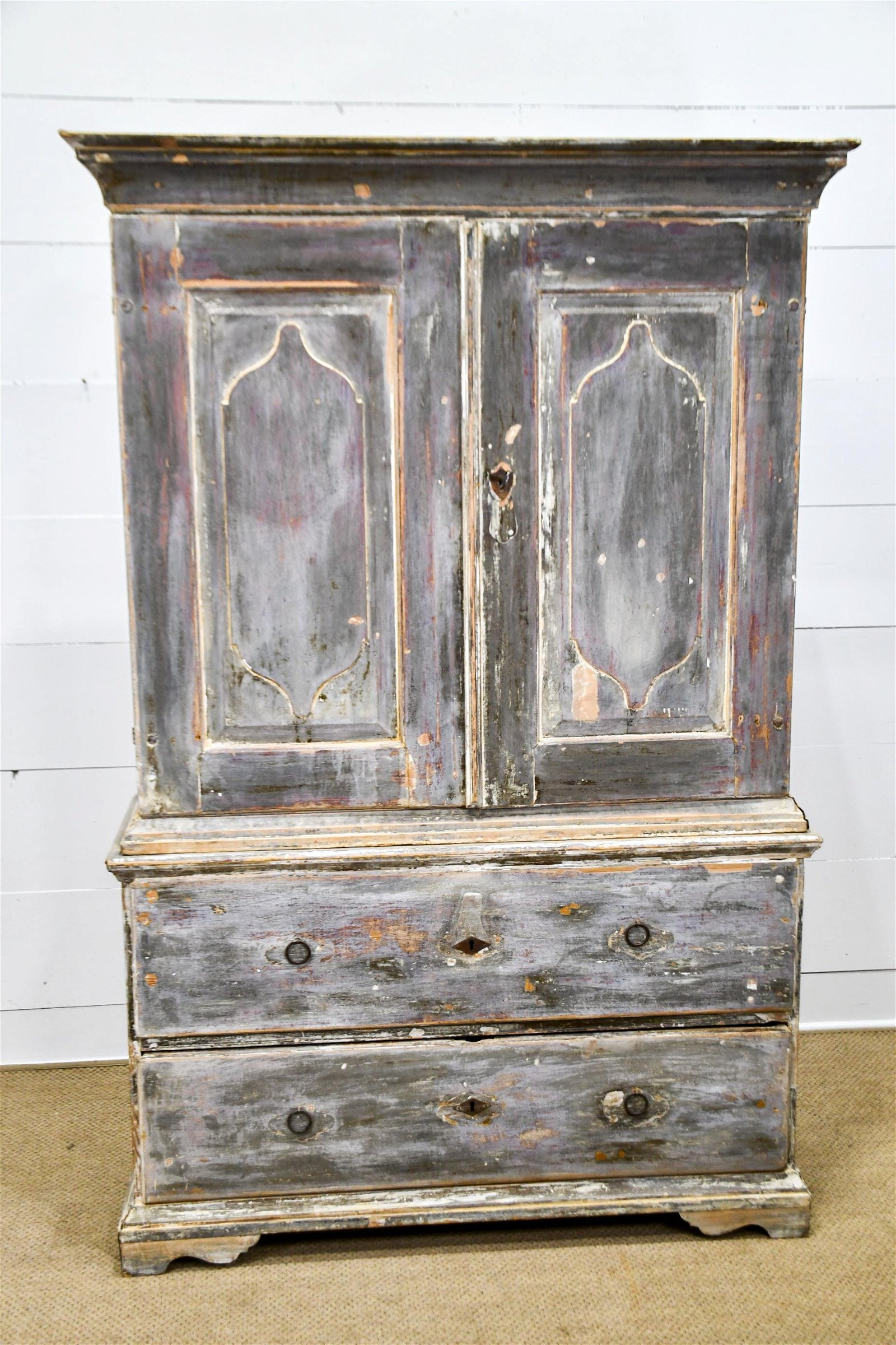 "18th C. Painted Spanish Cupboard 78""H,   51""  x   18"""