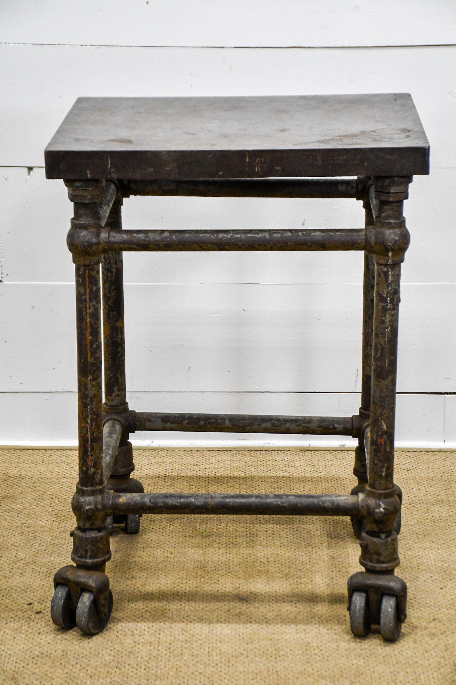 """Industrial Iron Work Stand on Casters 38 1/2""""H,   28"""""""