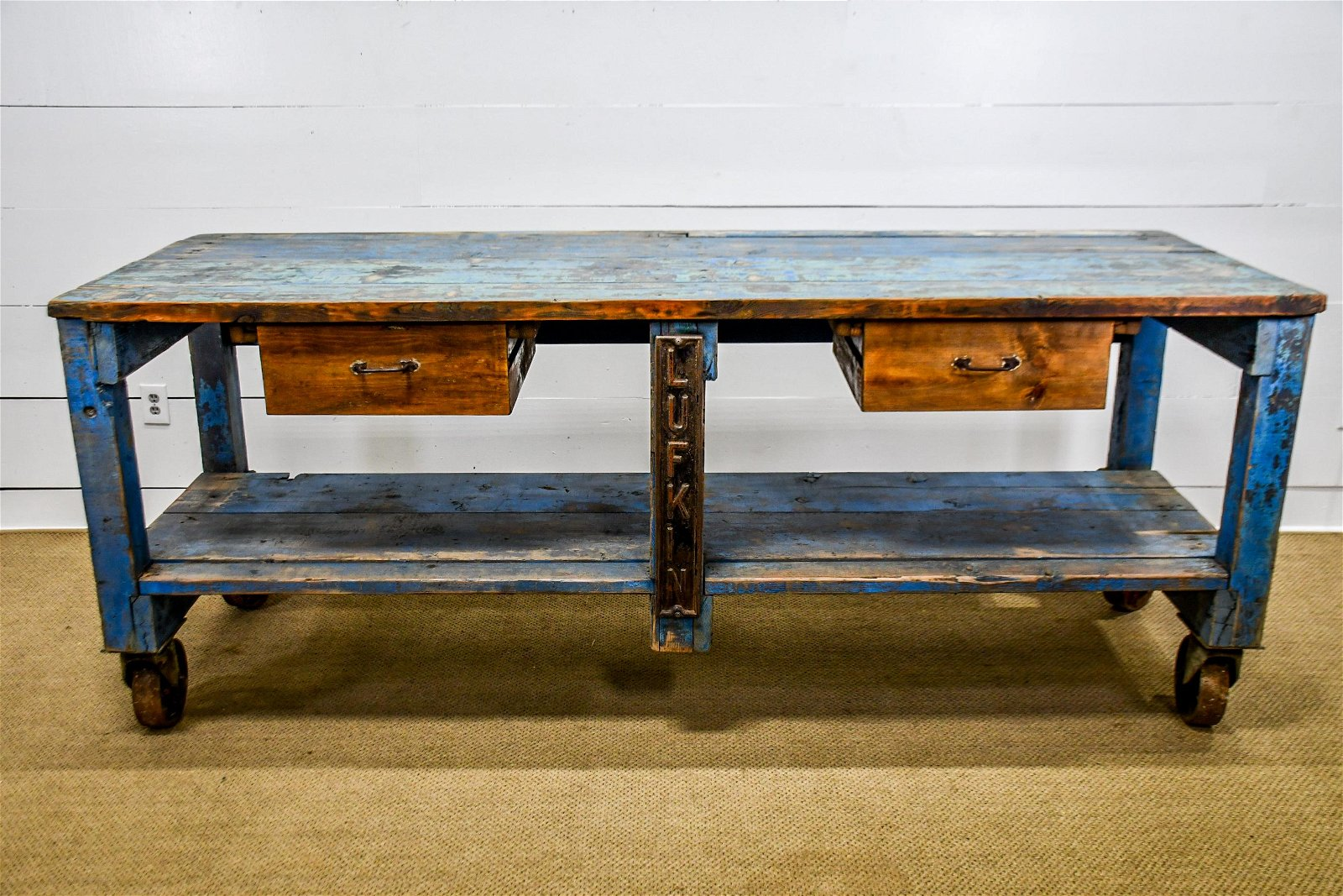 Painted Industrial Work Table w/Drawers, Casters 40