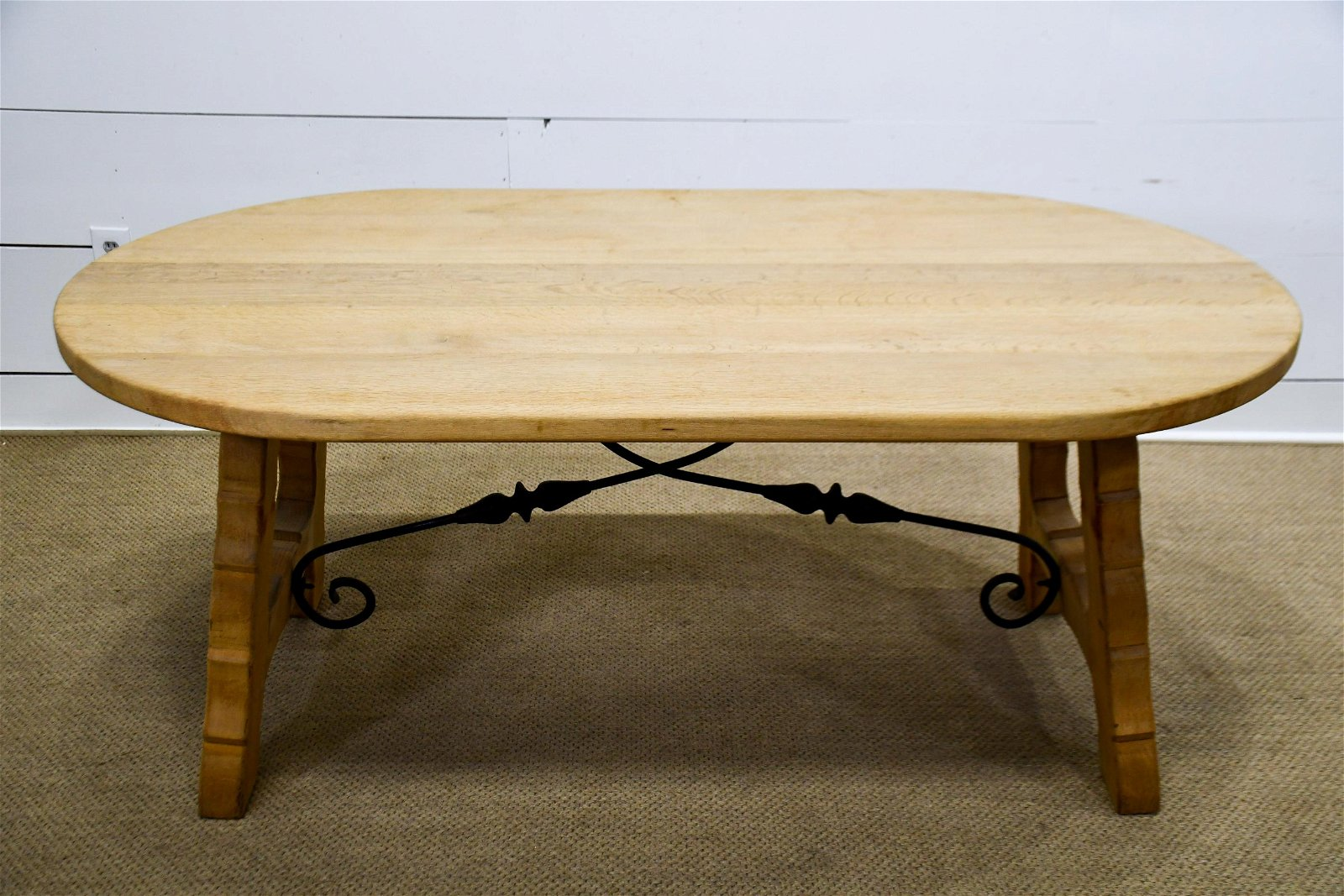 "French Bleached Oval Wood / Metal Trestle Table 29""H,"