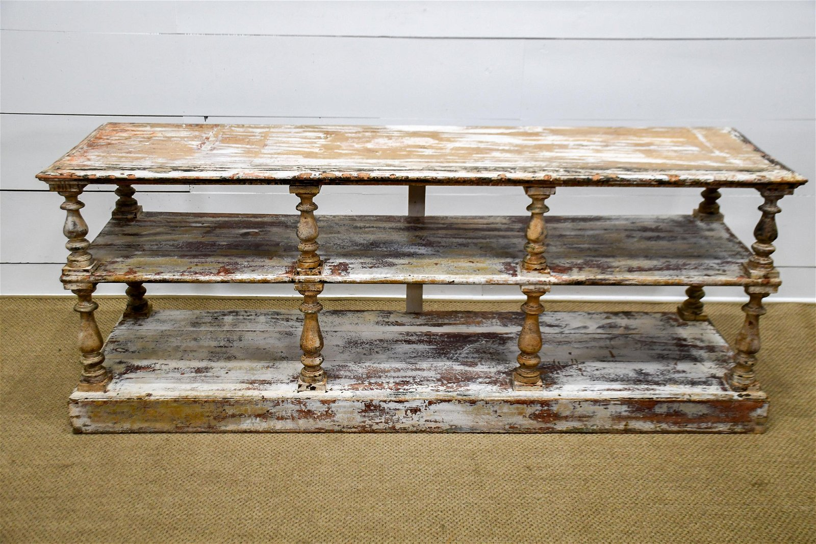 "French Painted Drapery Table 31 1/2""H,   81""  x   23"""