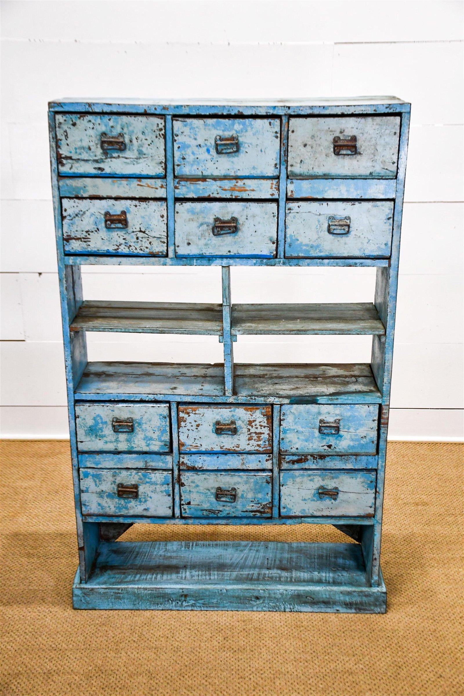 "Blue Painted Drawer / Cubby Unit 57""H,   36 1/2""  x"