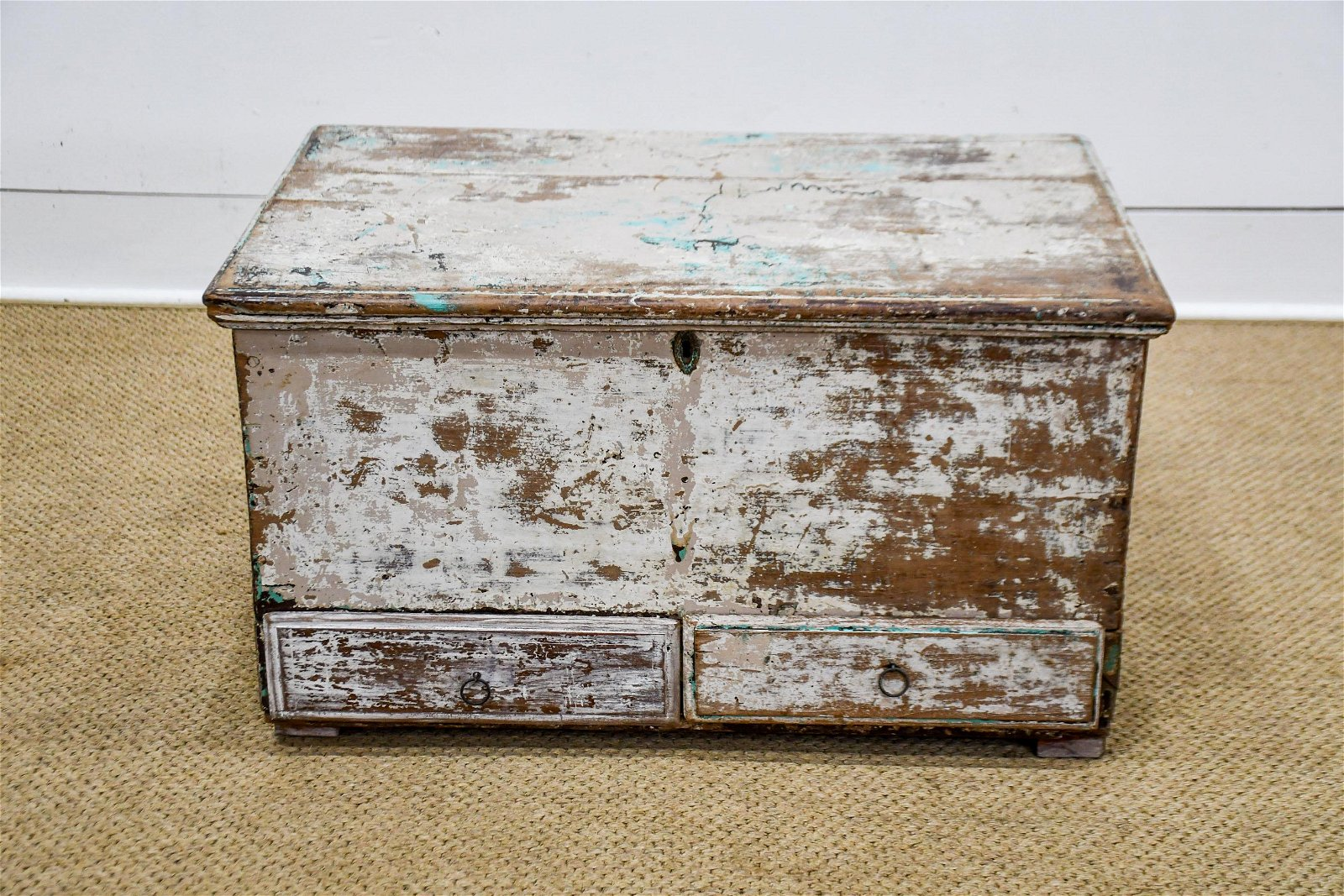 "Painted Trunk w/ Drawers 17""H,   30""  x   19 1/2"""