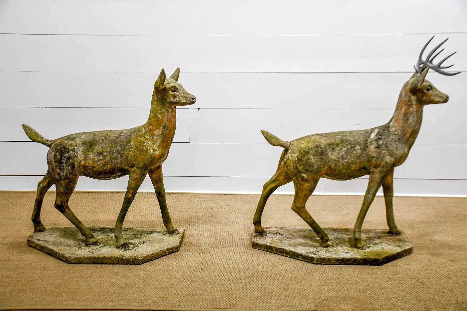 """2pc. Lot of Concrete Deer 47""""H,   45""""  x   18 1/2"""""""
