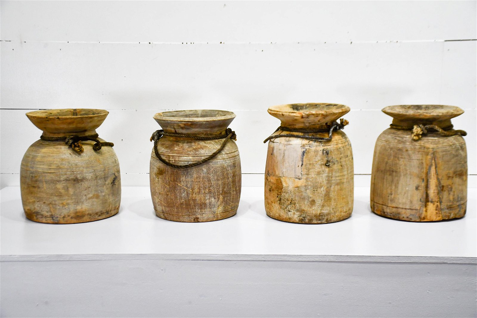 """4pc. Lot of Turned Wood Pots 15""""H    /   15""""H   /    16"""