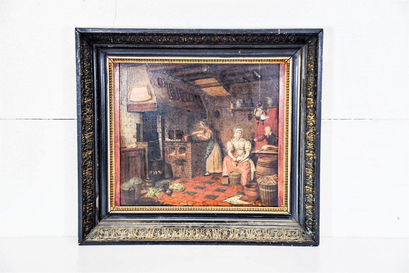 """Mid 19th C. Oil on Panel Painting - Kitchen Scene 19"""""""