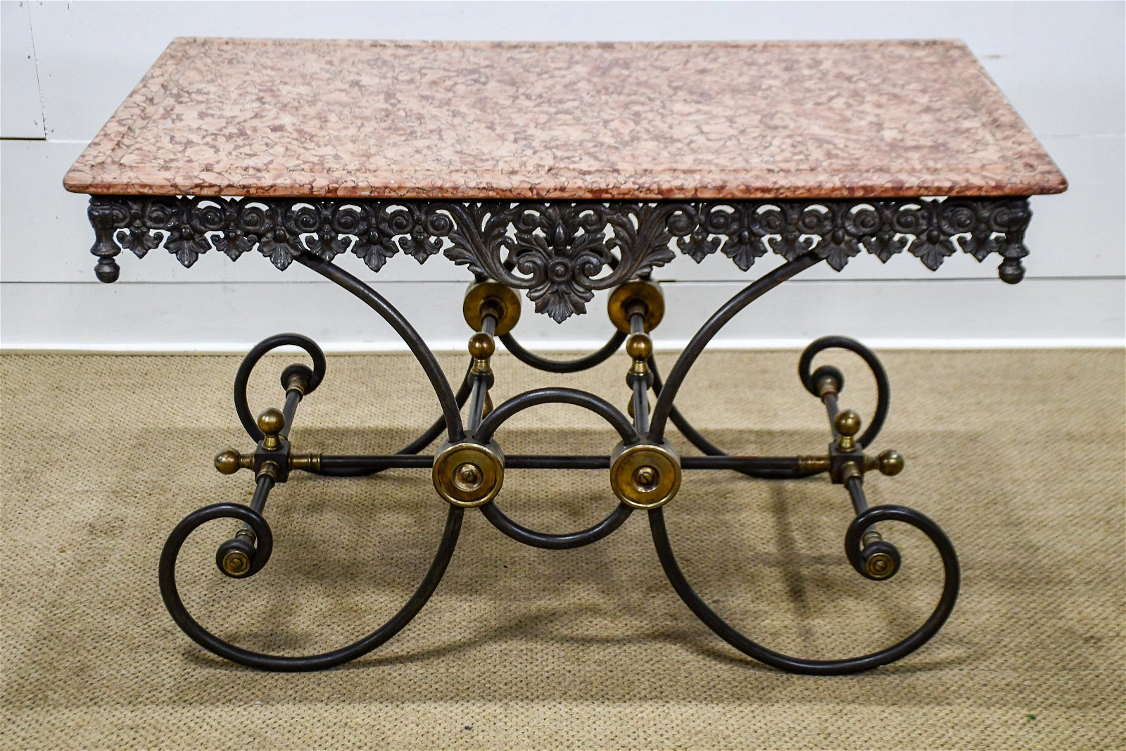 """French Marble Top Butcher Table 30""""H,   51""""  x   31"""""""