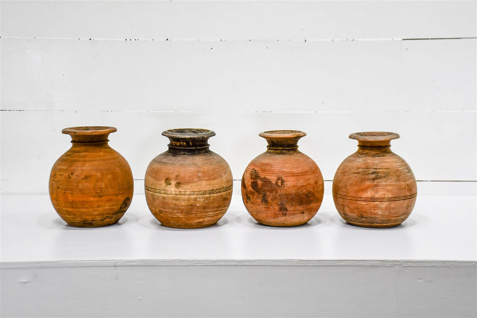 """4pc. Lot of Turned Wood Pots biggest   -   13""""H"""