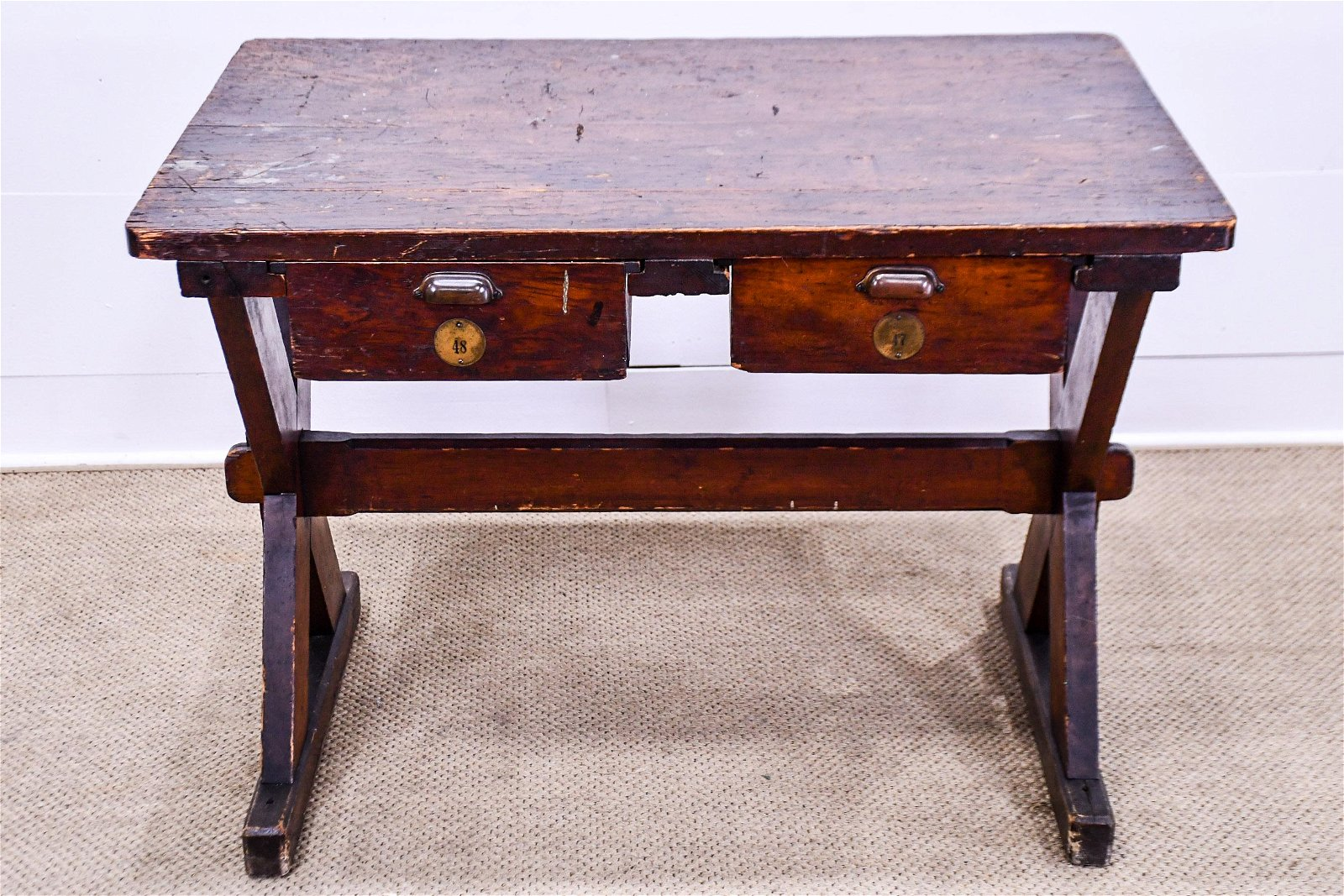 """Early Industrial Sawbuck Work Table w/Drawers 31""""H,"""