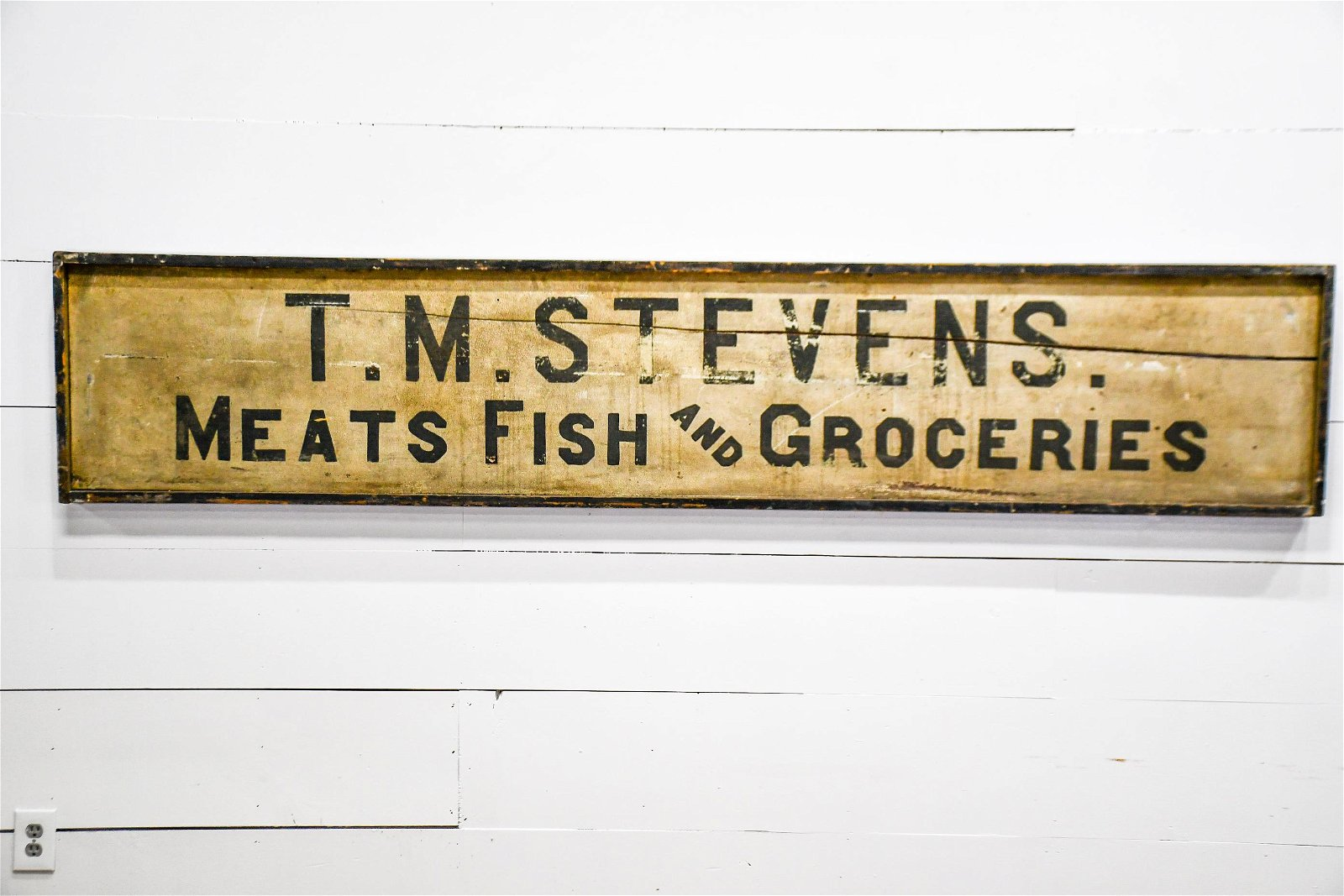 """Meats Fish and Groceries Sign   -   wood 20""""  x   98"""