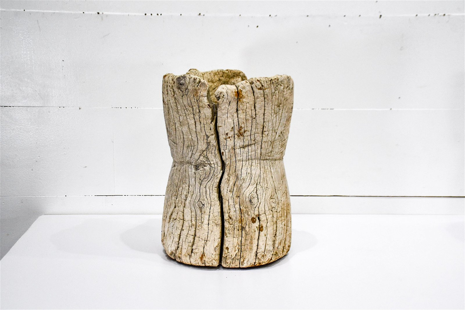 """Early Wooden Mortar 19 1/2""""H,   13 1/2"""" diam."""