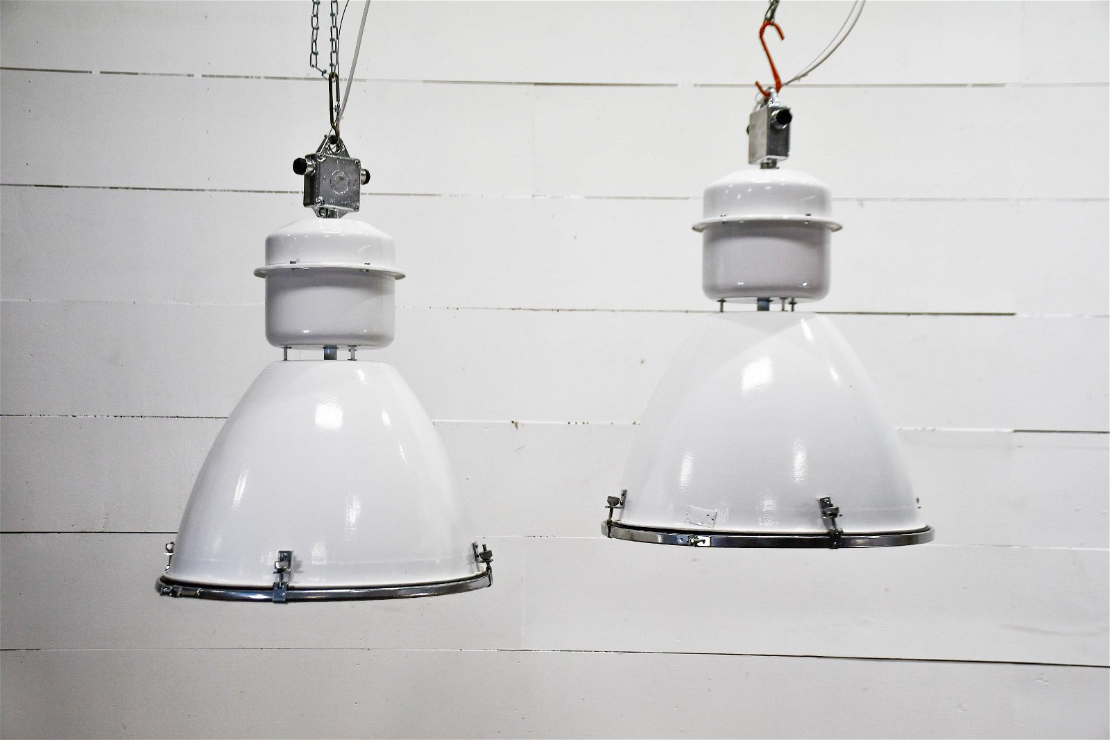 White Industrial Hanging Light X-2