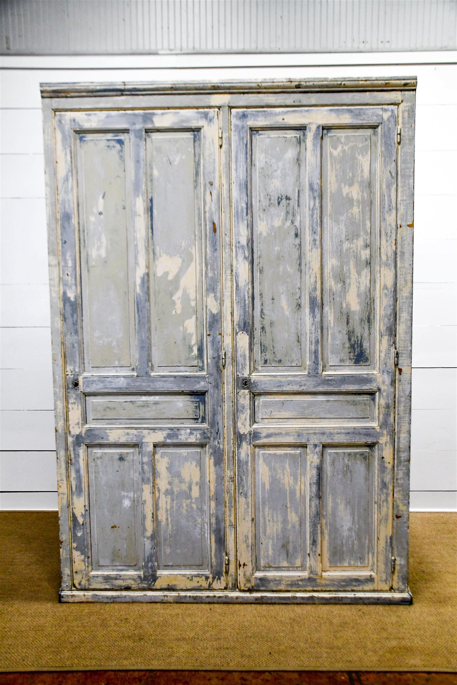 """French Farmhouse Painted Pantry Cupboard 100 1/2""""H,"""