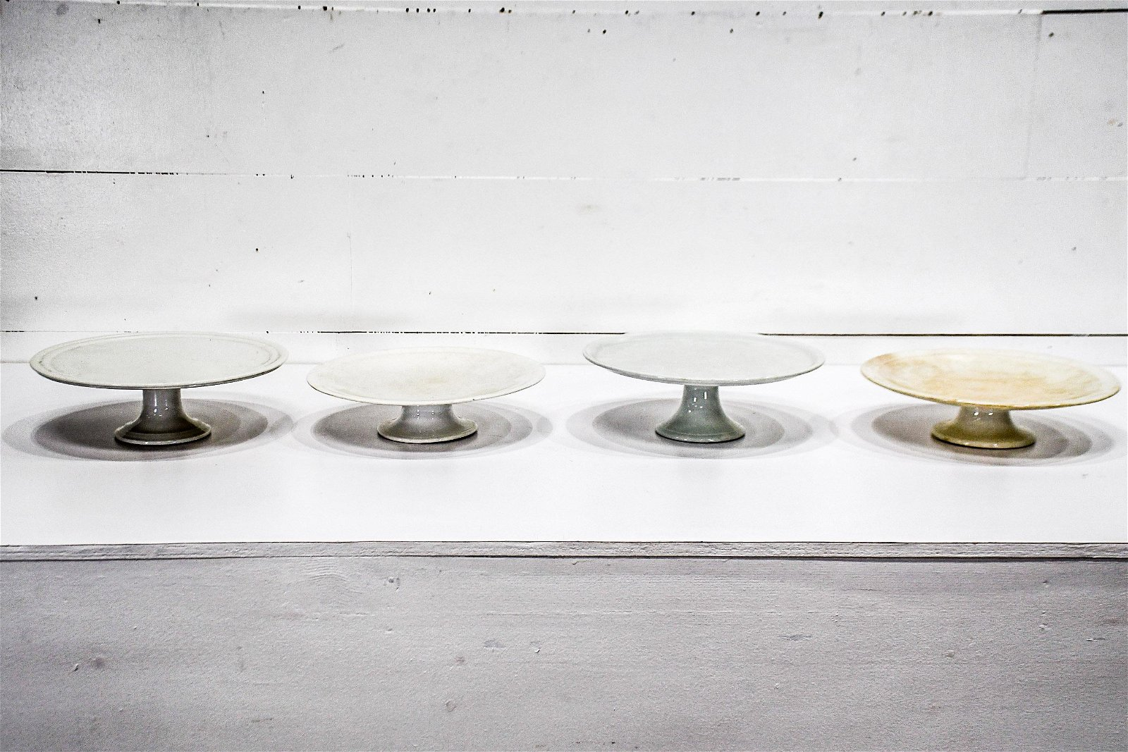"4pc. Lot of 19th C. Creamware Cake Stands 5""H,   14"