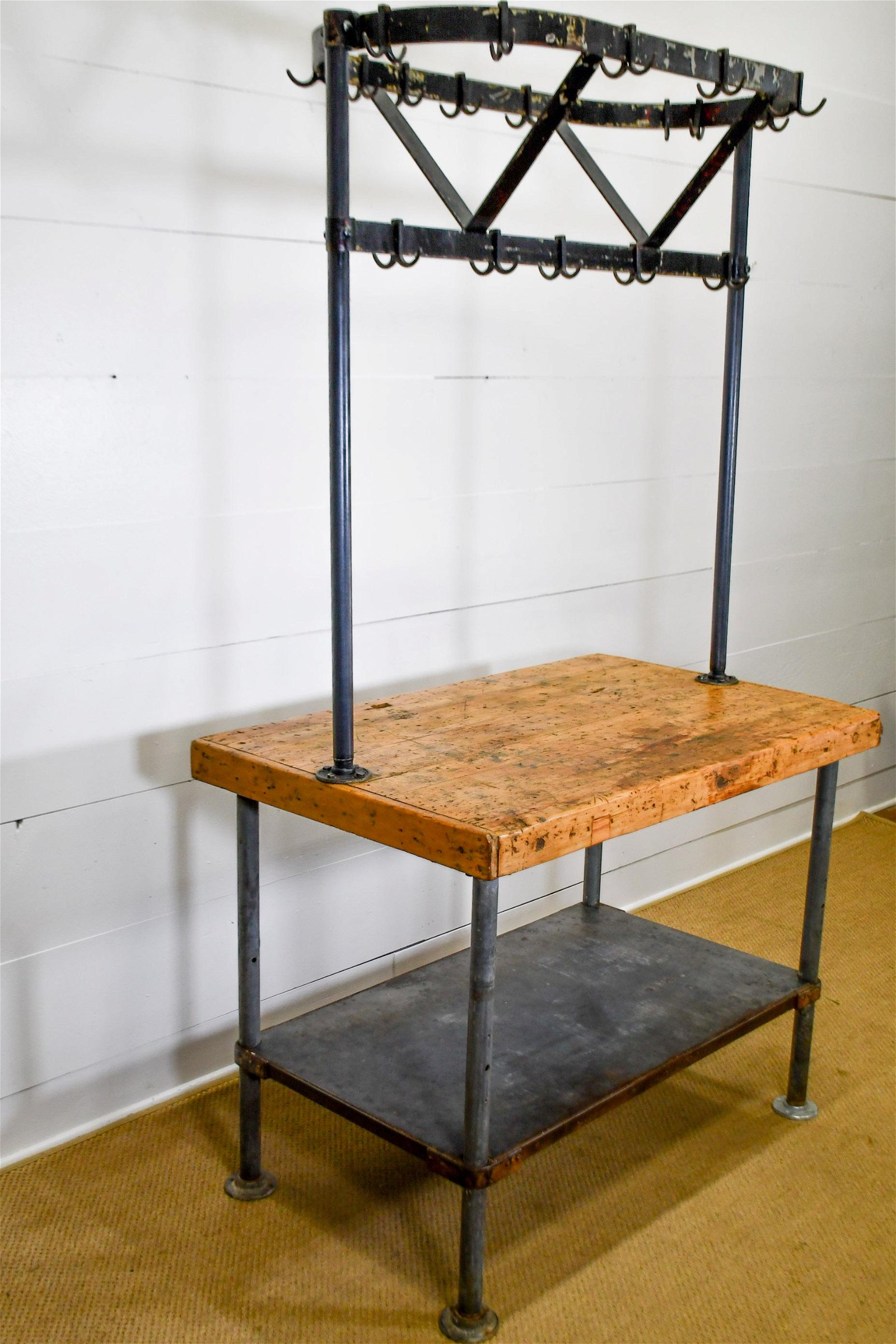 "Industrial Butcher Block Top Table w/ Pot Rack 86""H,"