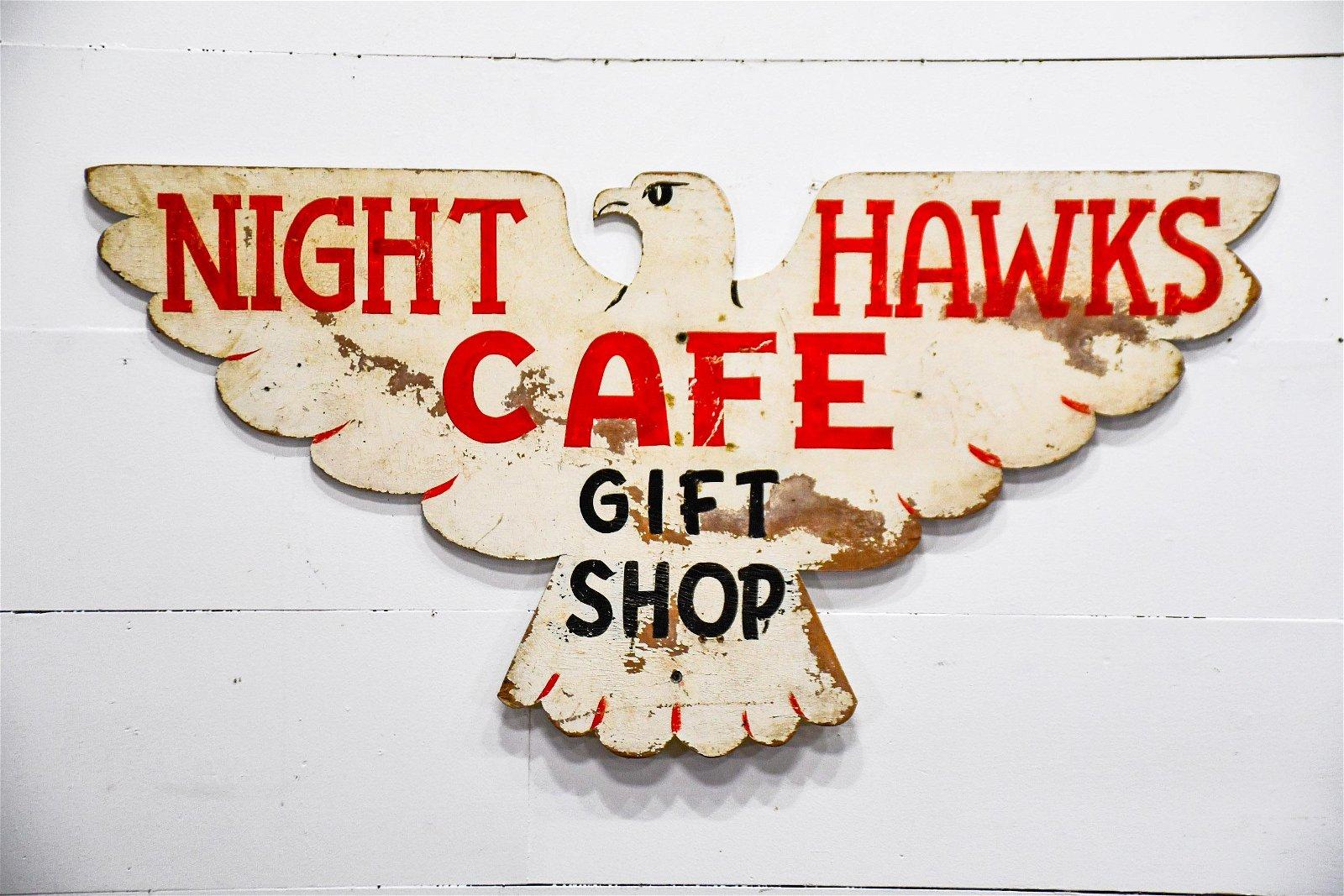 "Night Hawks Cafe Sign   -   wood 24""  x   48"""
