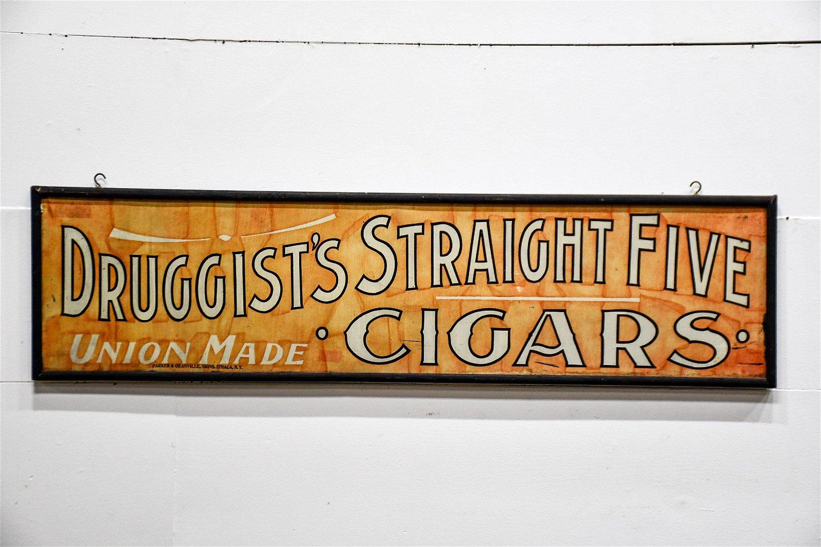 Druggist's Straight Five Cigars Sign metal / wood